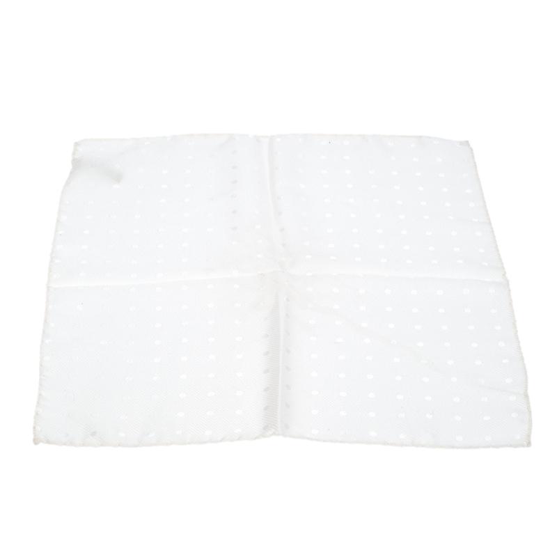 Ermenegildo Zegna Vintage Cream Polka Dot Jacquard Silk Pocket Square  - buy with discount