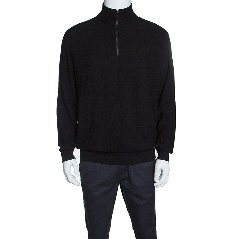 508e7496 Ermenegildo Zegna Black Wool and Cashmere Leather Patch Detail Sweater XXL
