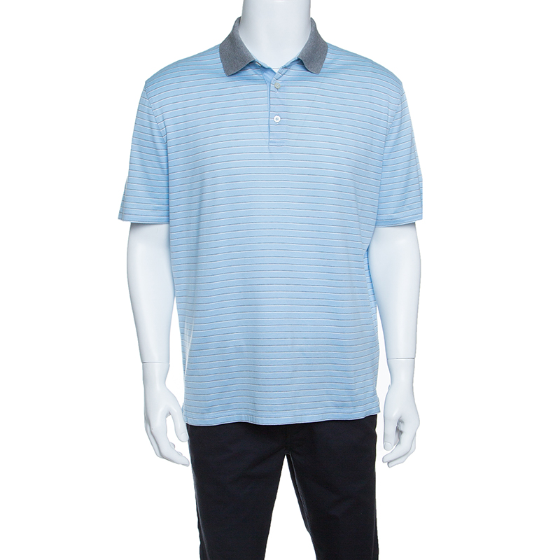 4cdfb545ea Ermenegildo Zegna Sky Blue Striped Cotton Contrast Collar Polo T-Shirt XXL
