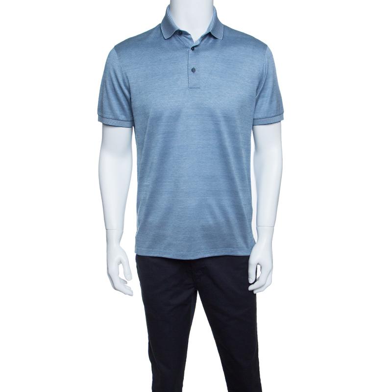282edfc8ed Ermenegildo Zegna Navy Blue and White Cotton Knit Short Sleeve Polo T-Shirt  S