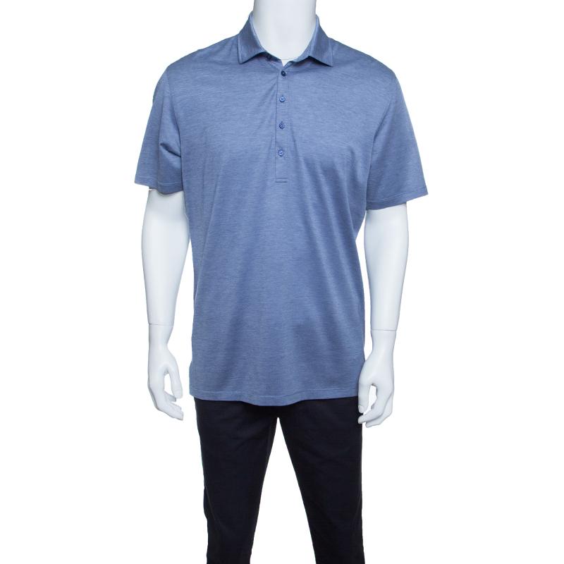 ec421f40e6 Ermenegildo Zegna Navy Blue and White Cotton Jersey Knit Short Sleeve Polo  T-Shirt M