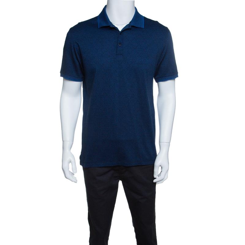 Ermenegildo Zegna Navy Blue and Black Cotton Knit Short Sleeve Polo T-Shirt M