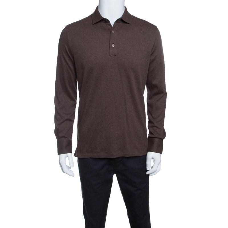 c86866640c Ermenegildo Zegna Brown Cotton Knit Long Sleeve Polo Shirt M