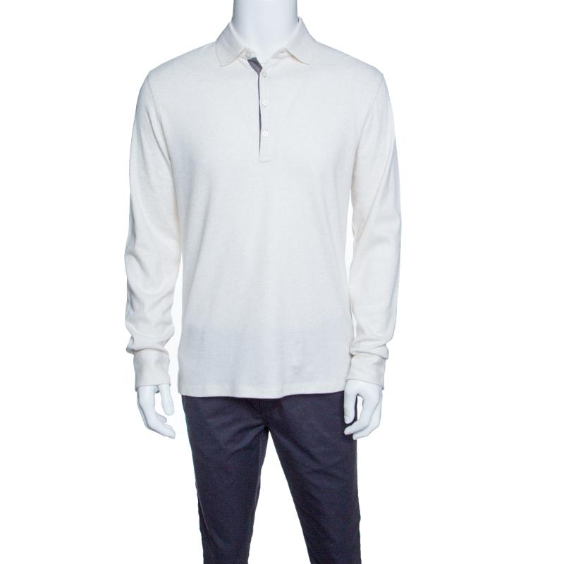 76d91e4edd Ermenegildo Zegna Cream Melange Jersey Long Sleeve Polo T-Shirt M