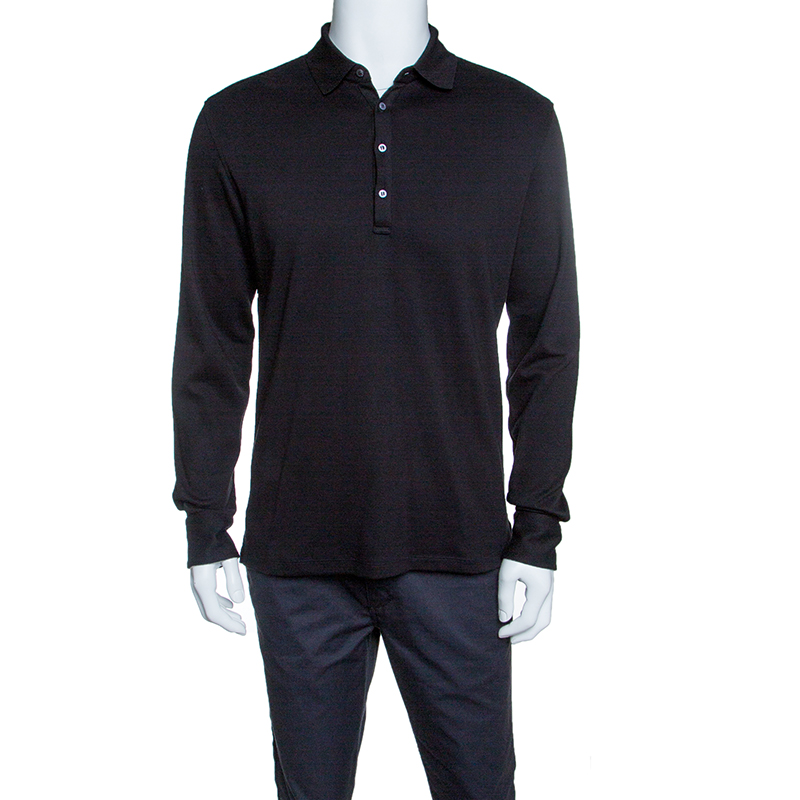b87fee0d7f Ermenegildo Zegna Black Cotton Jersey Suede Trim Long Sleeve Polo T-Shirt M