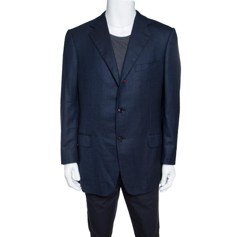 18293fcc Ermenegildo Zegna Dark Blue Patterned Wool Blazer XXL