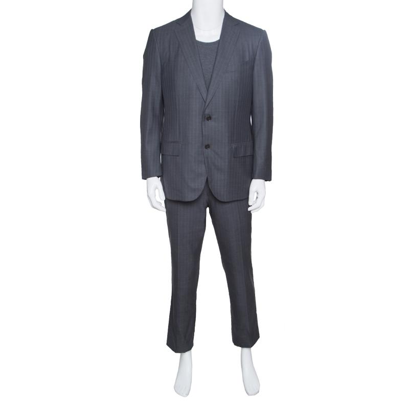 Купить со скидкой Ermenegildo Zegna Grey Striped Wool Trofeo 600 Mila Suit XL