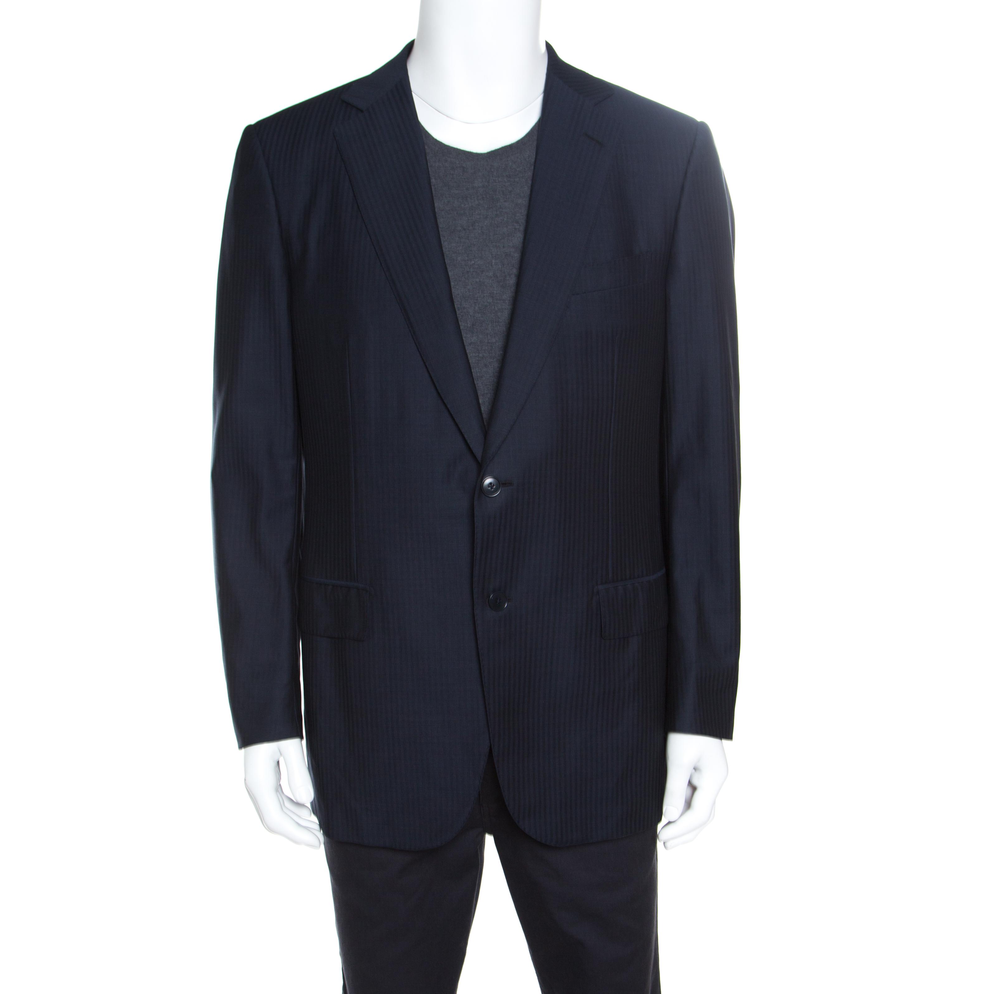 197550be5f Ermenegildo Zegna Navy Blue Tonal Striped Wool Blazer XL