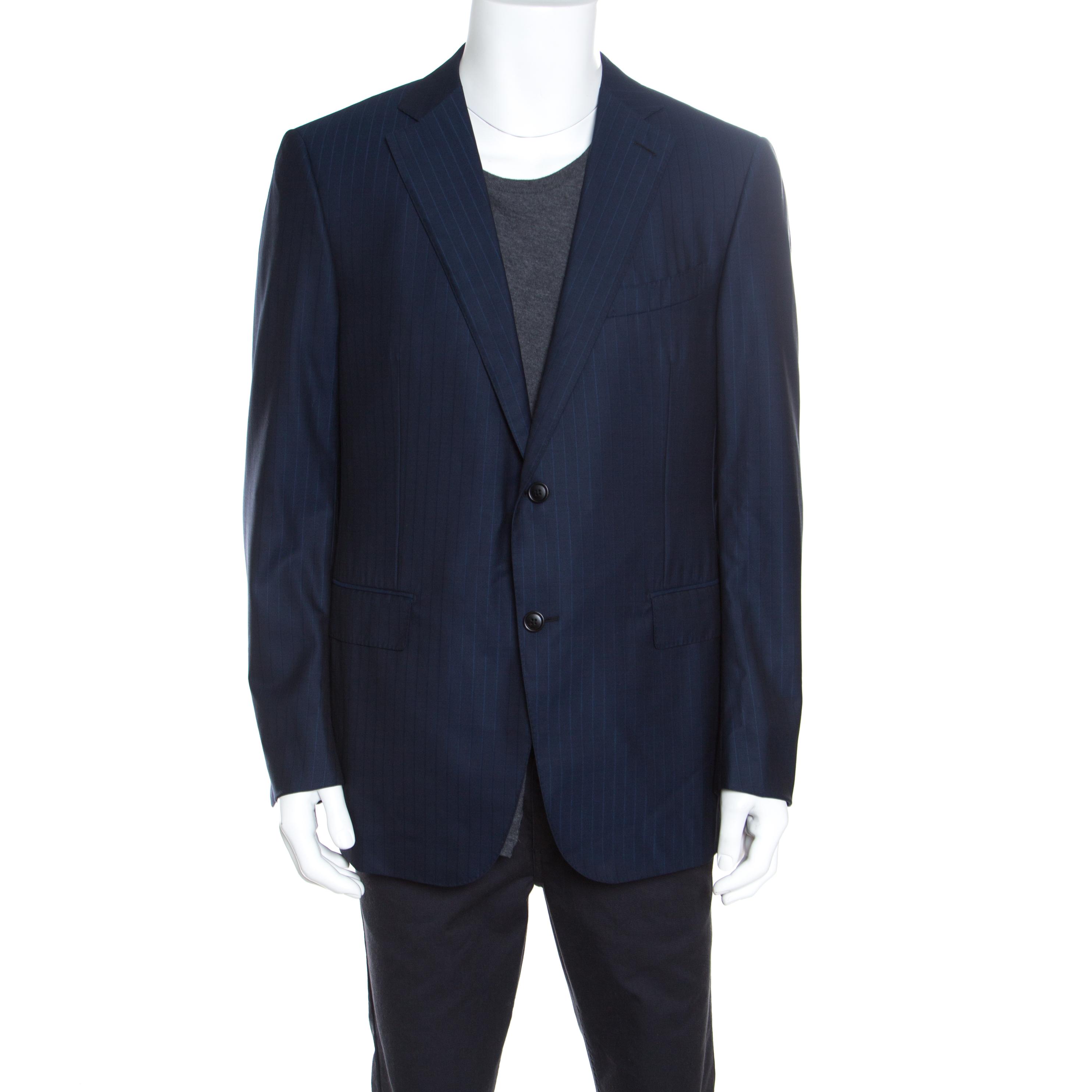 71522bbc Ermenegildo Zegna Navy Blue Striped Wool Mila Blazer XXL