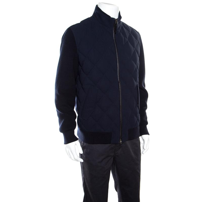 Ermenegildo Zegna marineblau mit Leder-Trim-Detail Gesteppte Wolle Trofeo Daunenjacke XXL