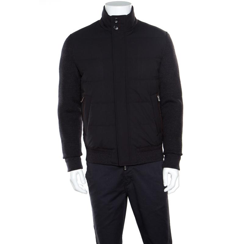 1953af6b Ermenegildo Zegna Elements Grey Wool Leather Trim Detail Puffer Jacket M