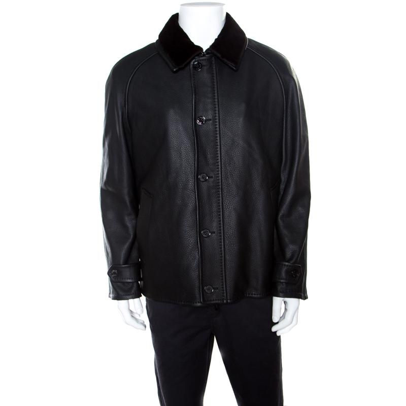 1172ba6daa Ermenegildo Zegna Black Mink Fur Collar Detail Zip Front Deer Leather  Jacket 3XL