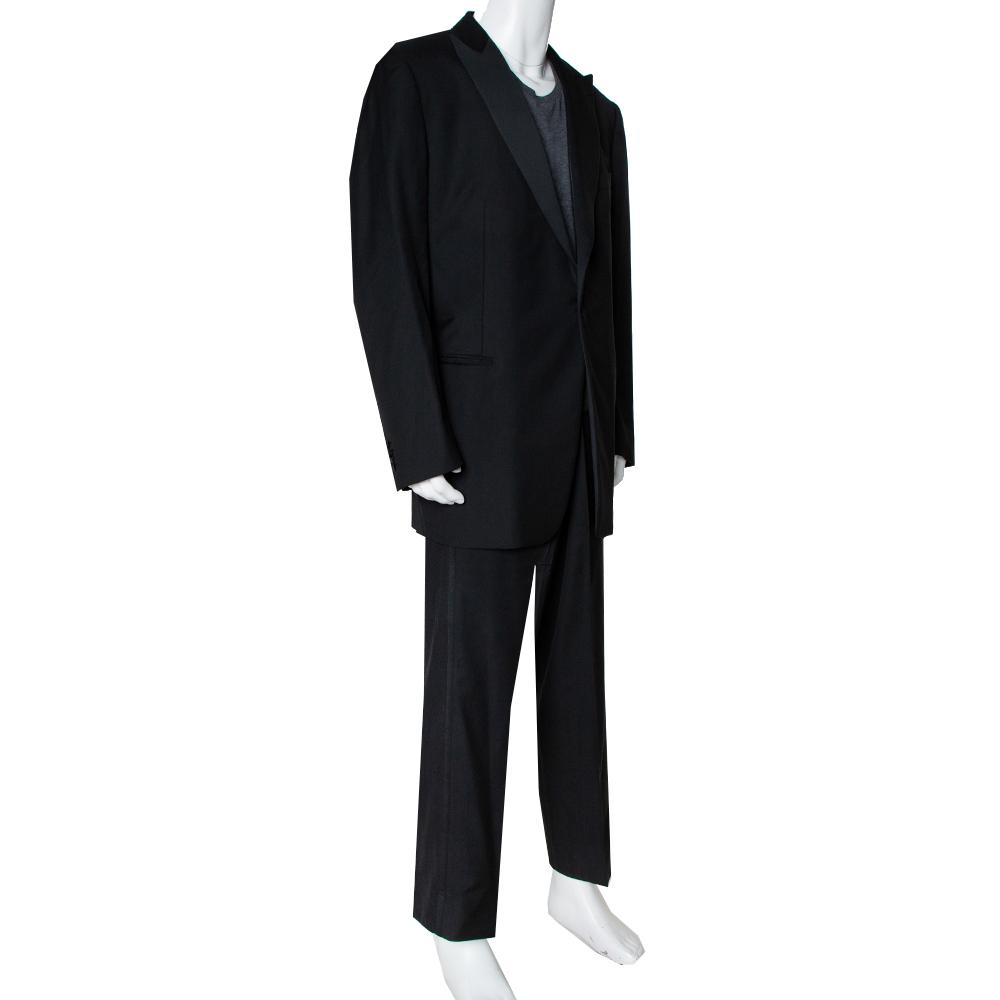 Ermenegildo Zegna Black Wool Contrast Trim Detail Tuxedo 5XL (IT 60L)