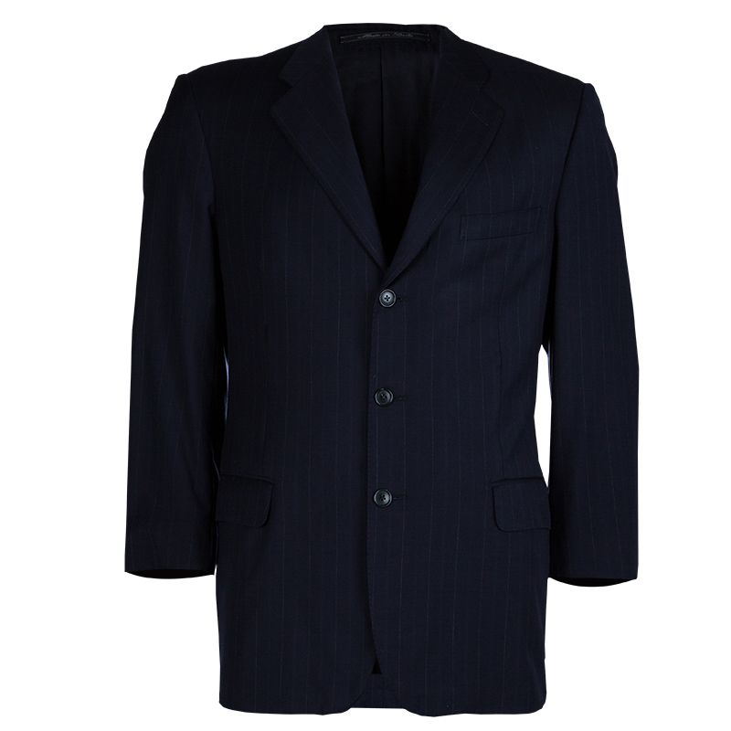 531ee602 Ermenegildo Zegna Men's Navy Blue Striped Worsted Wool Blazer L