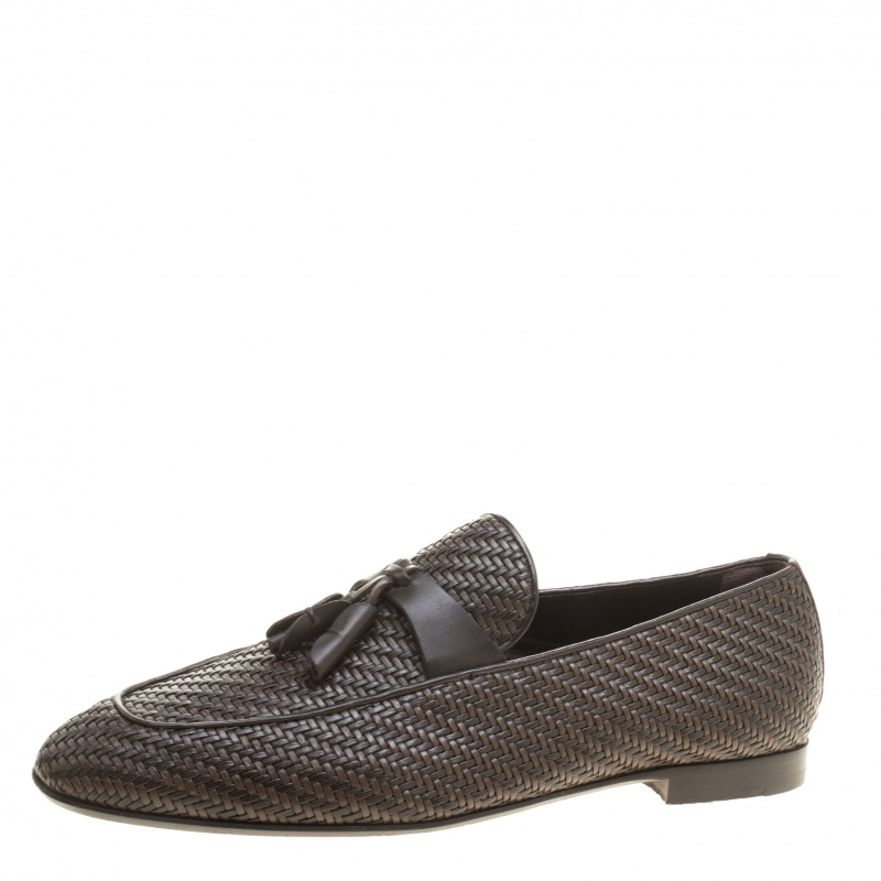 Ermenegildo Zegna Brown Woven Leather Lido Tassel Loafers Size 42