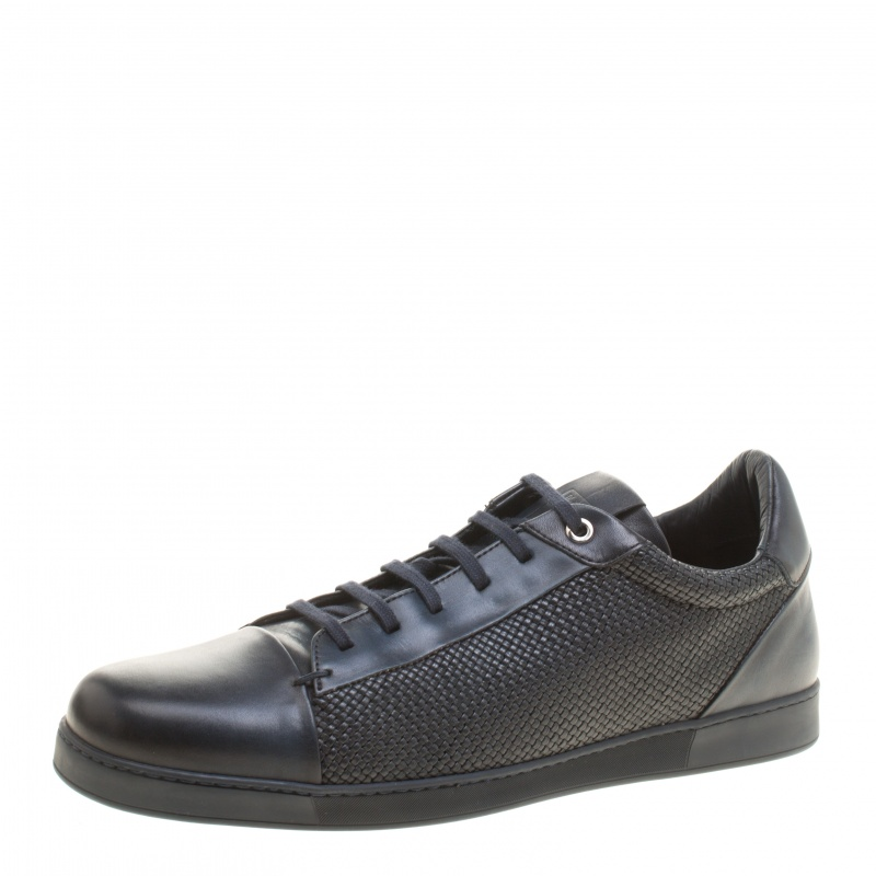 a24a4256e3 Ermenegildo Zegna Navy Blue Leather Woven Detail Lace Up Sneakers Size 42.5
