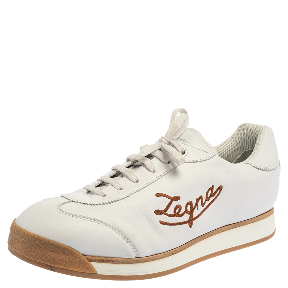Pre-owned Ermenegildo Zegna White Leather Marcello Signature Sneakers Size 46