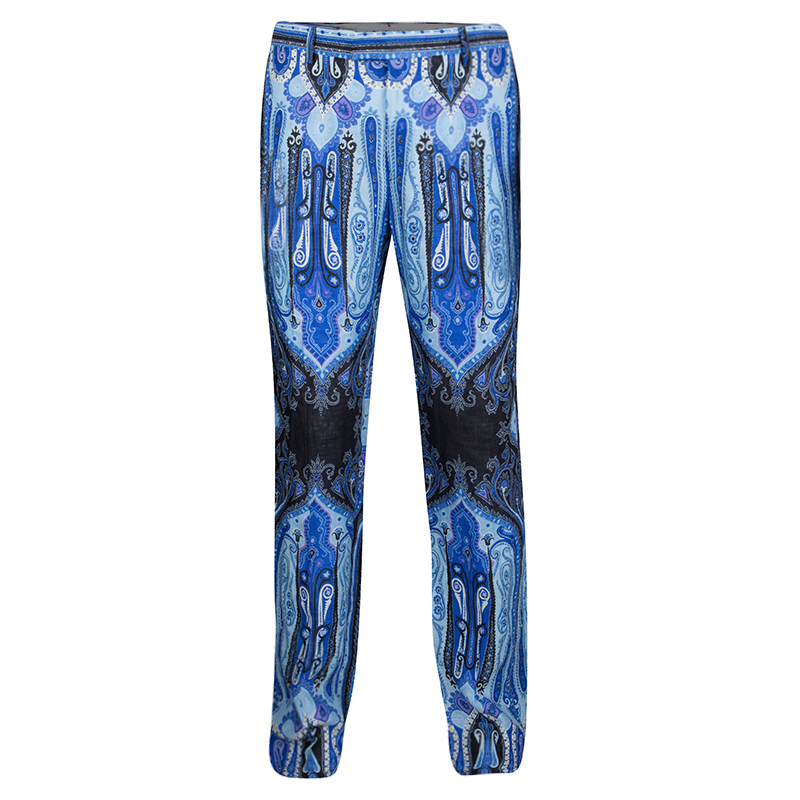 f992020588bf6 Buy Etro Blue Mexico Print Linen Trousers L 132091 at best price | TLC