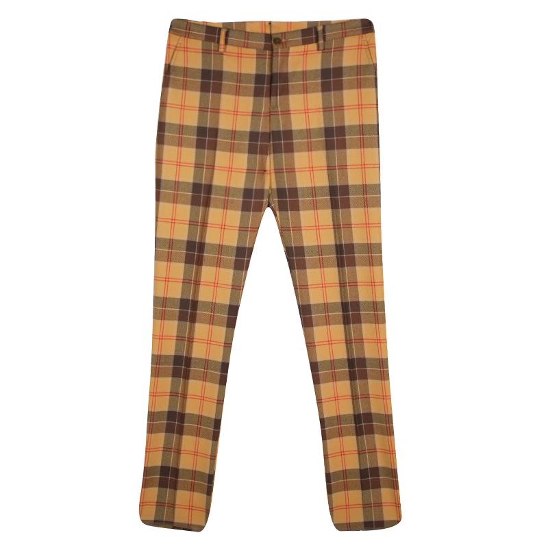 88f37999 Etro Tan Brown Plaid Checked Wool Cuba Slim Fit Trousers L