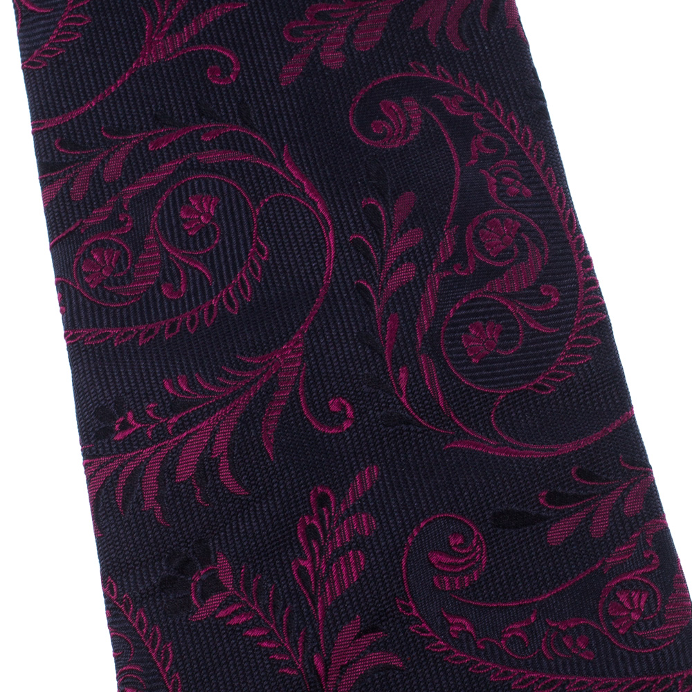 Фото #1: Etro Navy Blue & Fuchsia Floral Jacquard Silk Traditional Tie