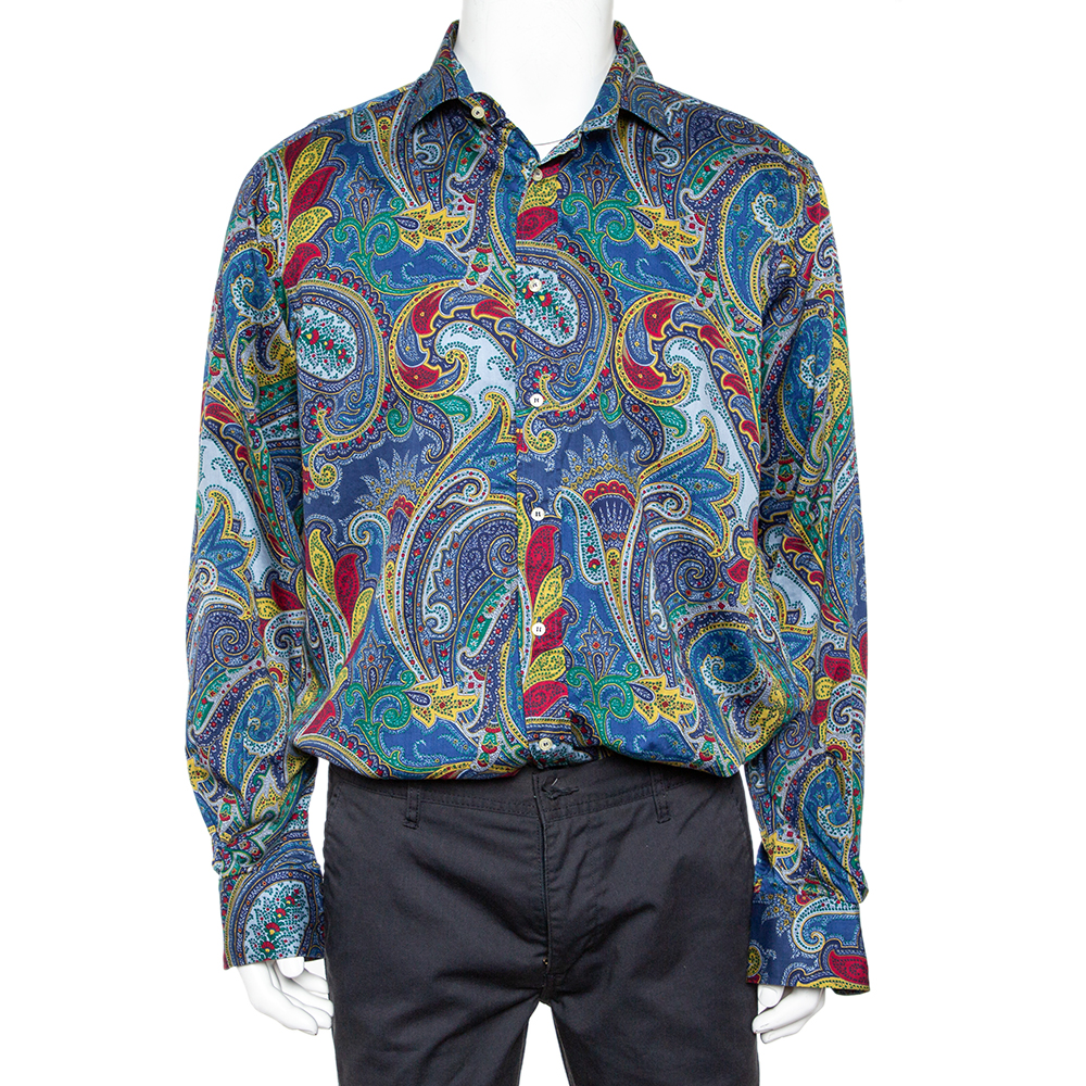 Etro Blue Paisley Printed Cotton Button Front Shirt XXL