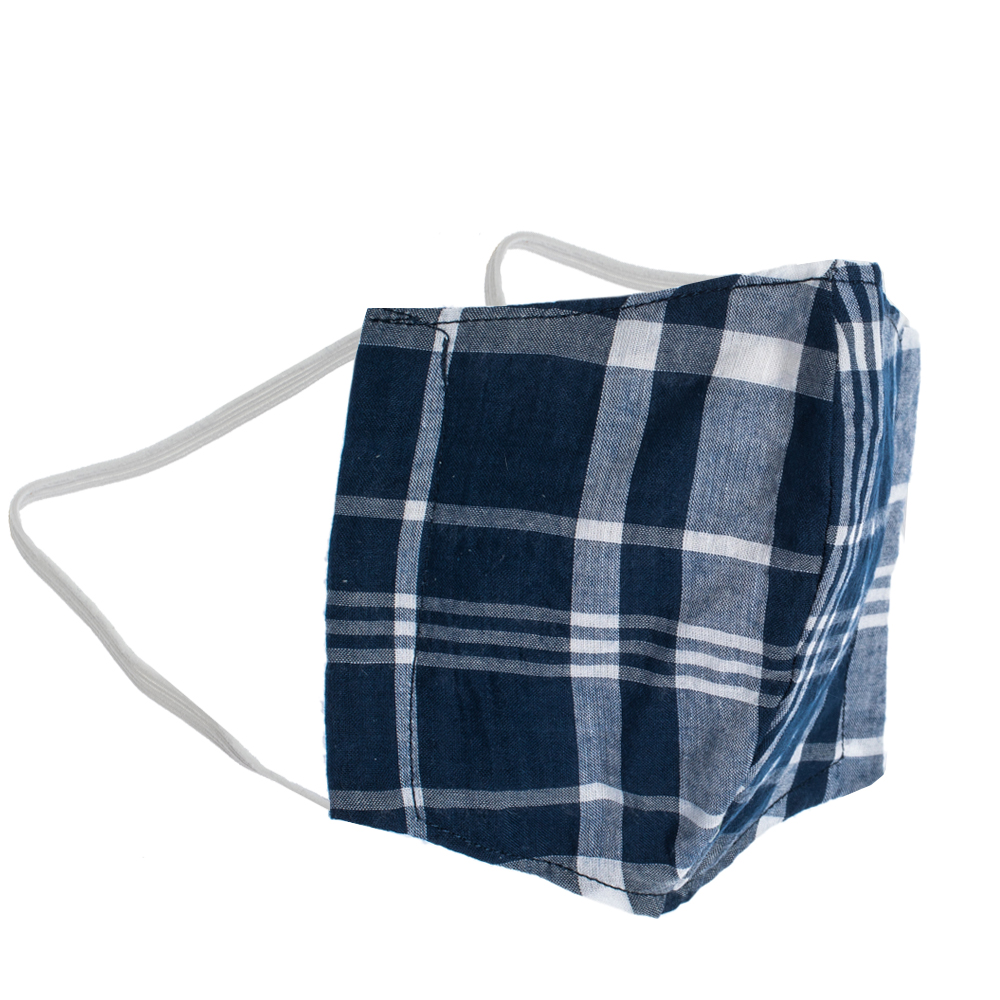 Non-Medical Handmade Blue Plaid Cotton Face Mask - Pack Of 2 (Available for UAE Customers Only)