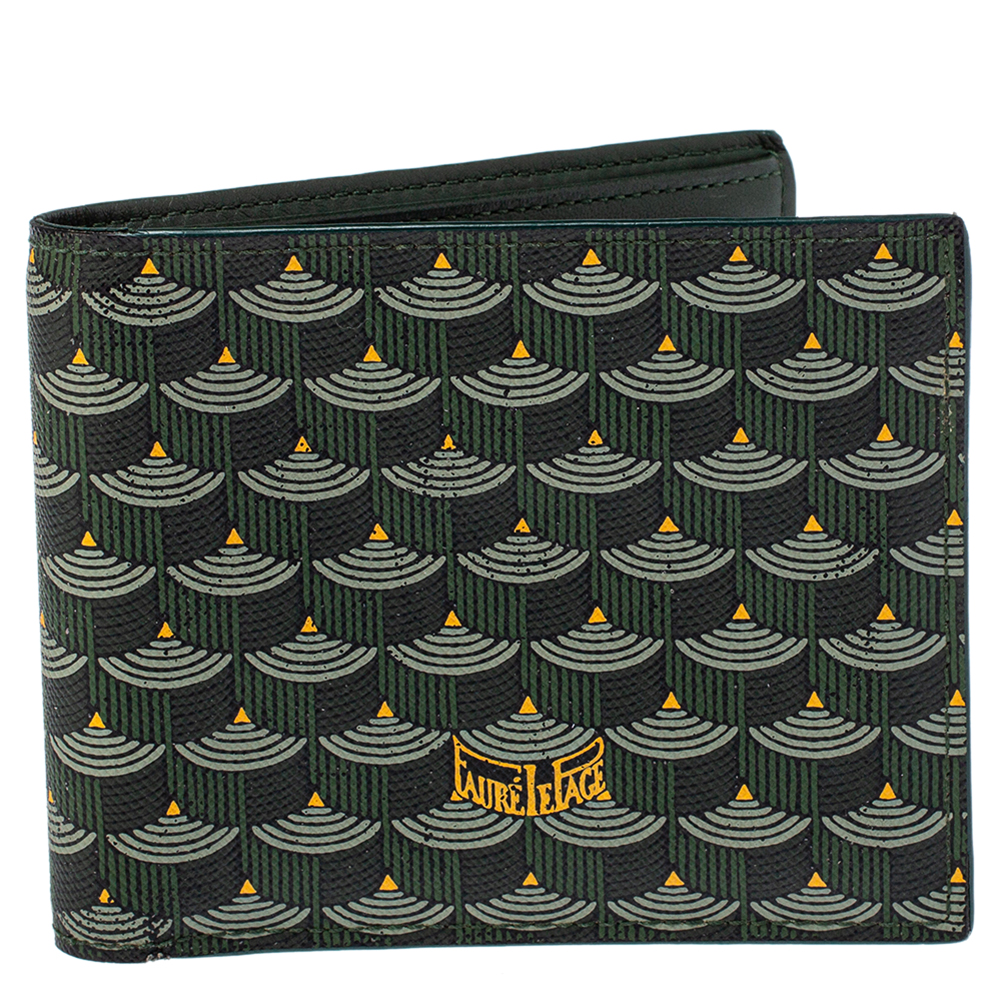 Pre-owned Fauré Le Page Green Coated Canvas Bifold Wallet