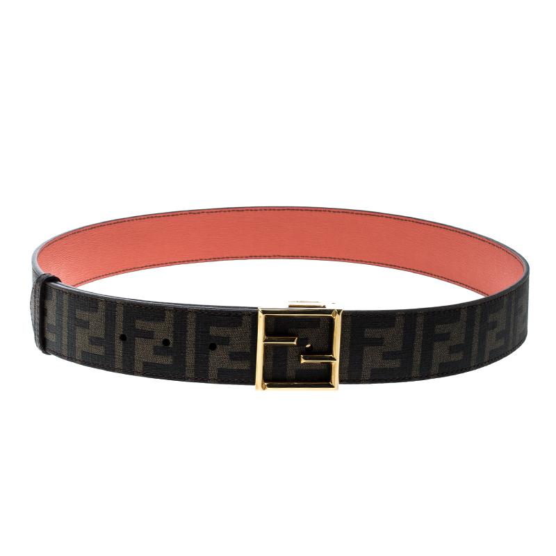 9cc2a0389e Fendi Brown/Orange Zucca Canvas and Leather Reversible Belt 110cm