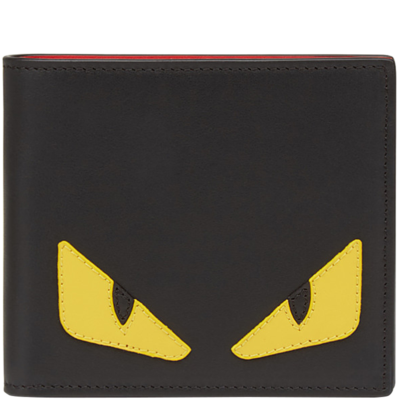 509061a589 Fendi Black Elite Leather Bag Bugs Eyes Inlay Horizontal Bifold Wallet