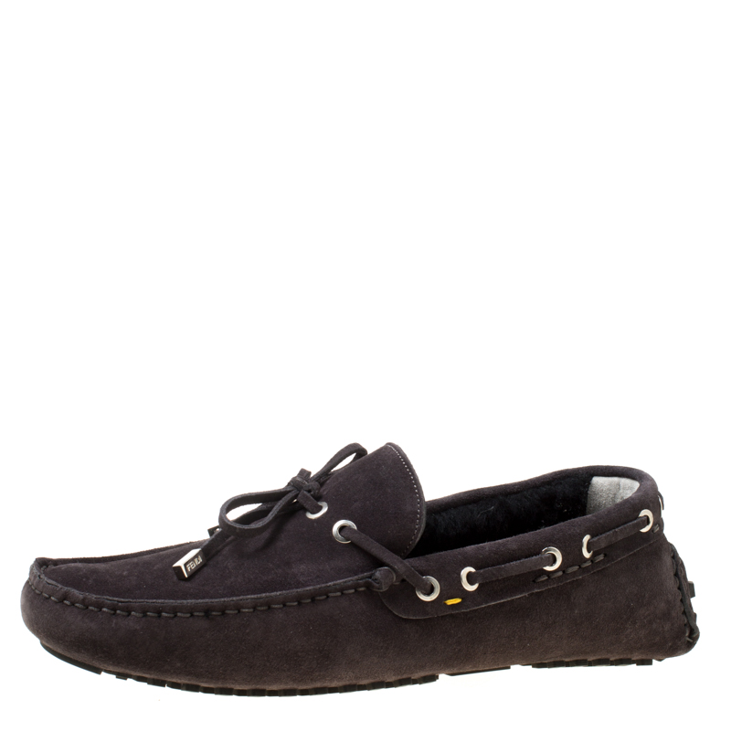 Fendi Black Suede With Merino Wool Lining Bow Loafers Size 42