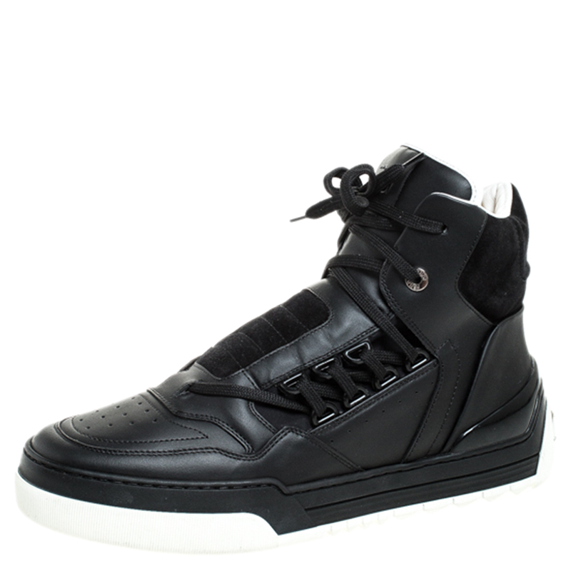 Suede Lace Up High Top Sneakers Size