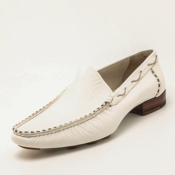 Fendi White Leather Chain Embellished Men's Loafers Size 44