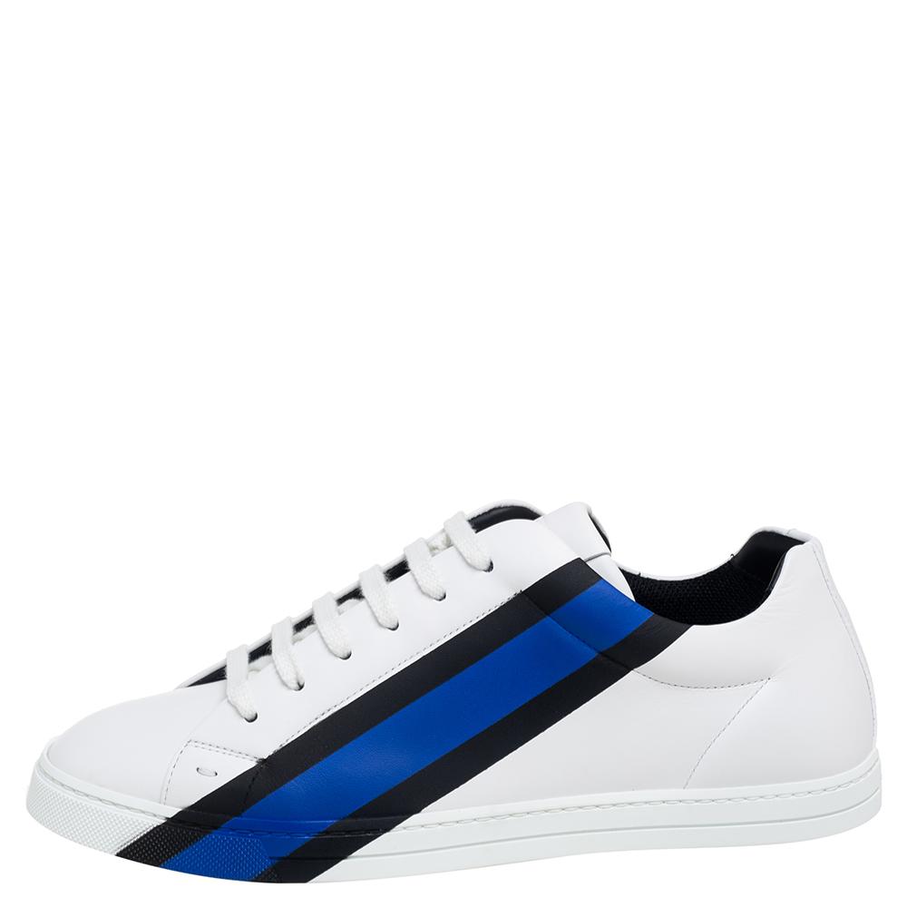 Fendi White Leather Low-Top Logo Print Sneakers Size 40