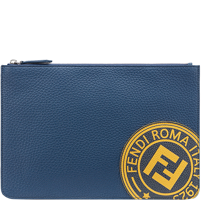 f495946c9d14 Buy Fendi Blue Roman Leather Slim Zipped Pouch 159876 at best price ...