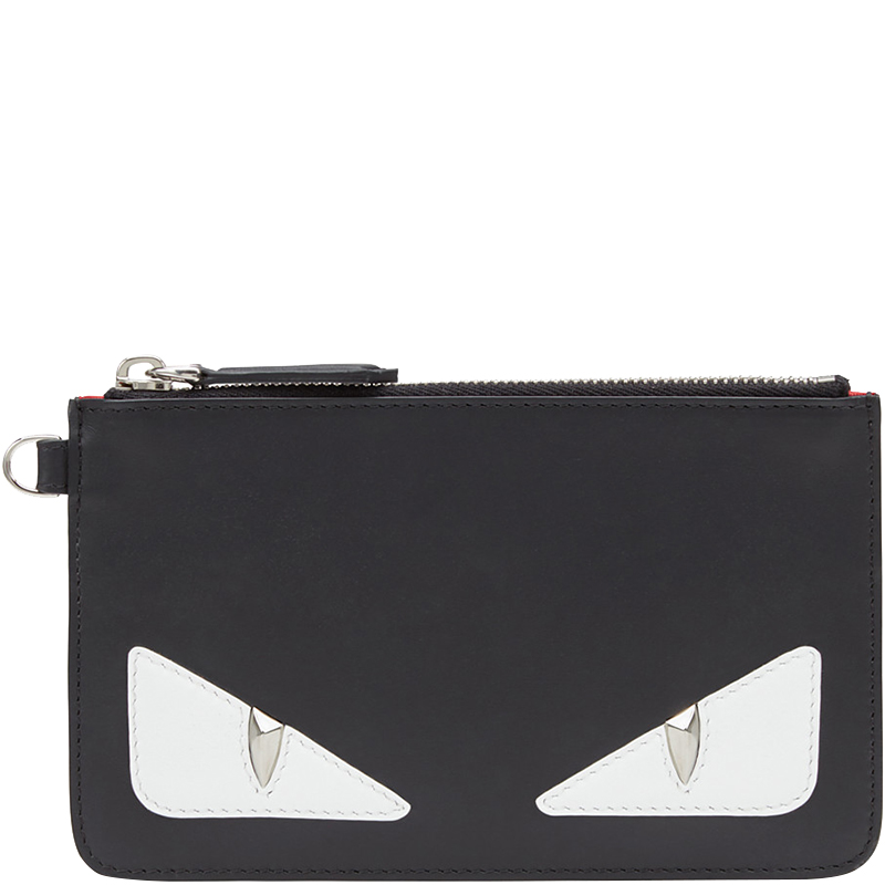 0a525431faaa Buy Fendi Black Leather Bag Bugs Eyes Slim Pouch 159877 at best ...