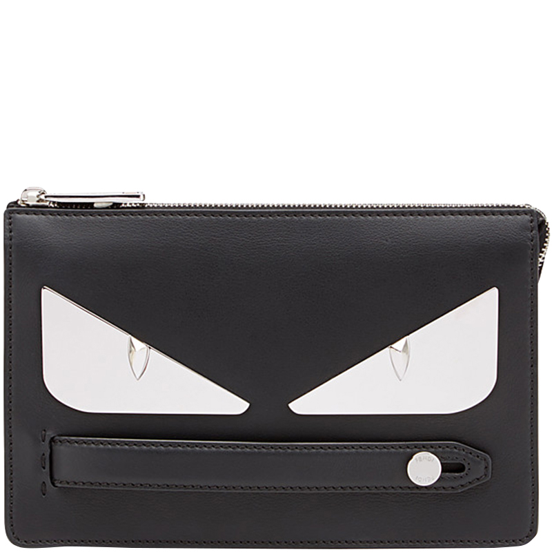 92e46a5c1be2 Buy Fendi Black Leather Bag Bugs Eyes Clutch 159878 at best price