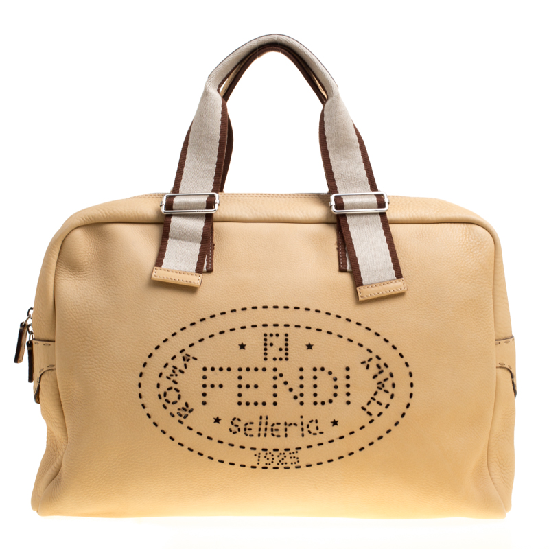 9e642a821816 Buy Fendi Yellow Selleria Leather Weekender Bag 149461 at best price ...