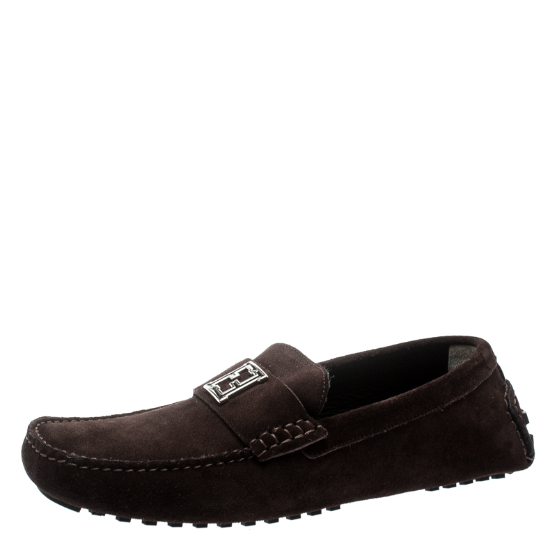 Fendi Brown Suede Logo Loafers Size 43
