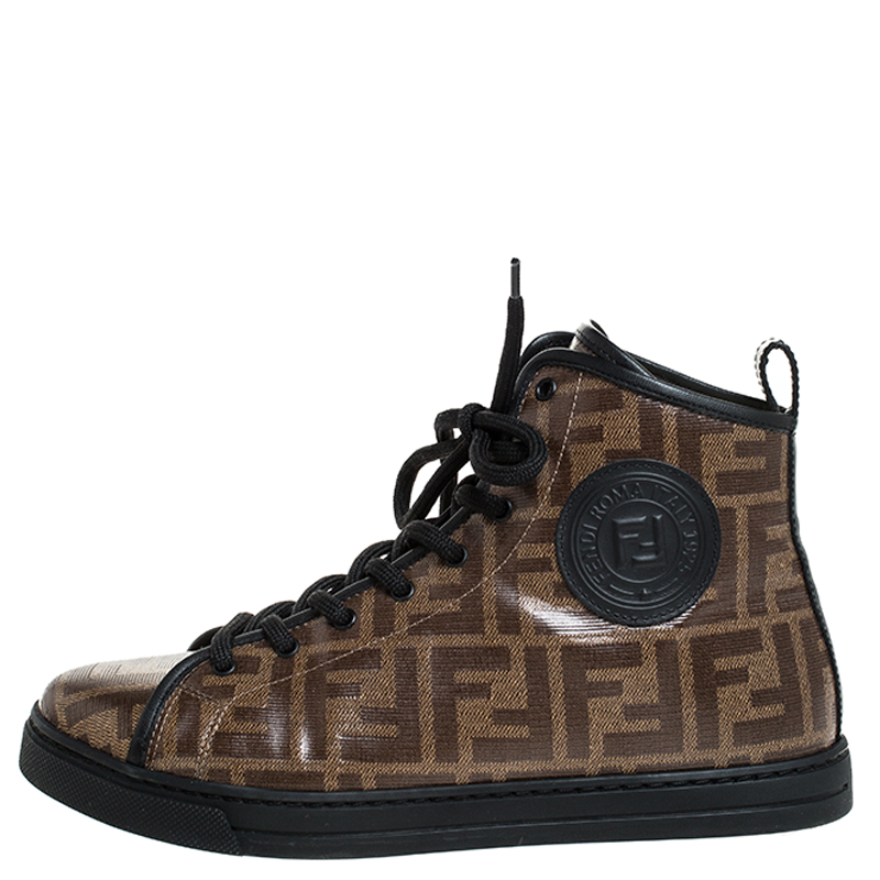 Fendi Brown Zucca Coated Canvas Lace Up