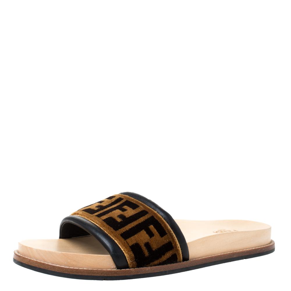 Fendi Zucca Velvet Flat Slides Sandals
