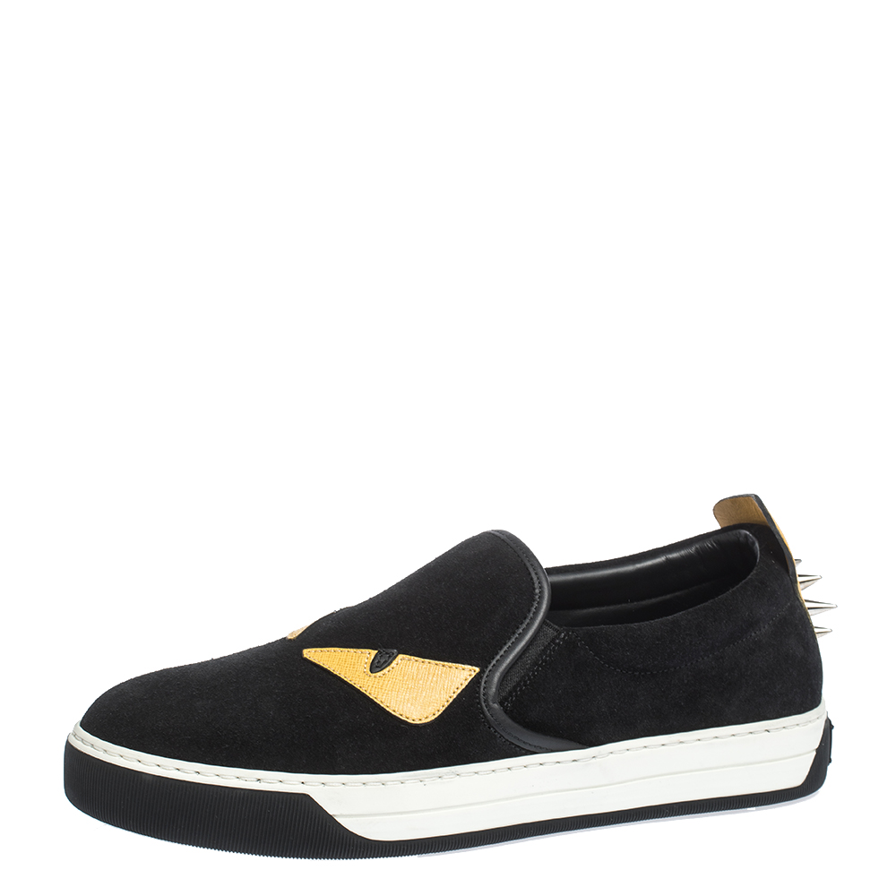 Fendi Black Suede and Leather Monster 3D Eyes Slip On Sneakers Size 40