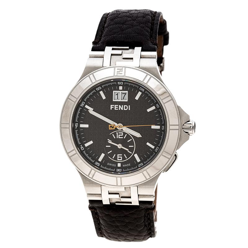 77fd78e63e37 Buy Fendi Brown Stainless Steel Dual Time 4700G Men s Wristwatch 44 ...