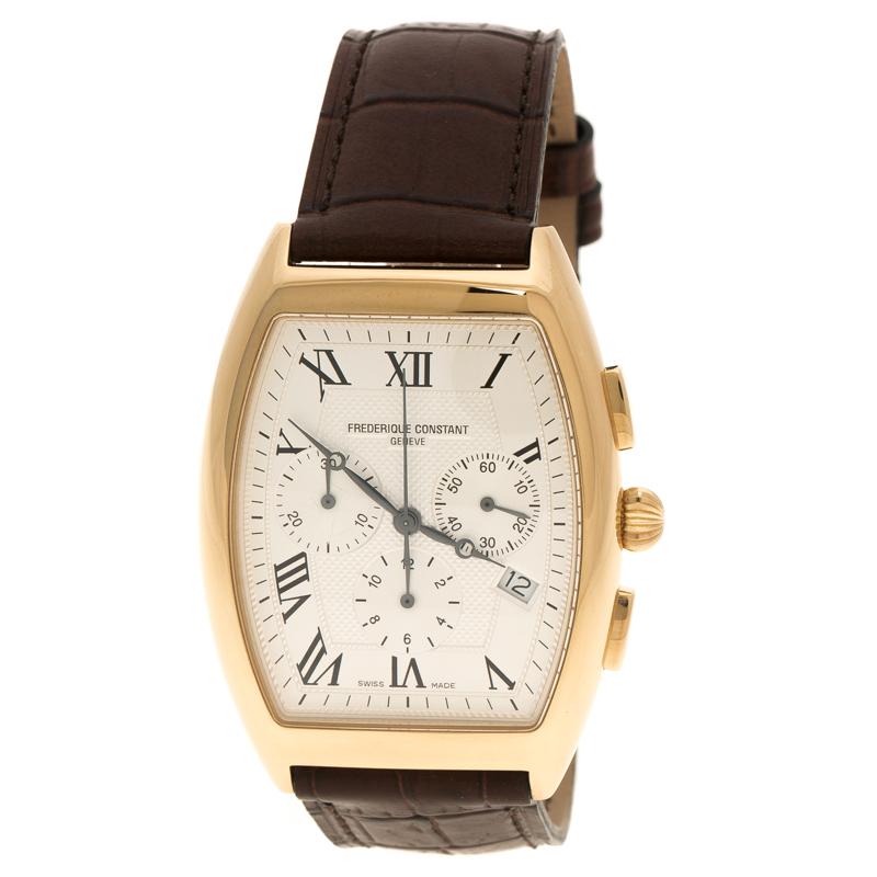 Frederique Constant Cream Gold Plated Steel Art Deco Chronograph Men's Wristwatch 36 mm