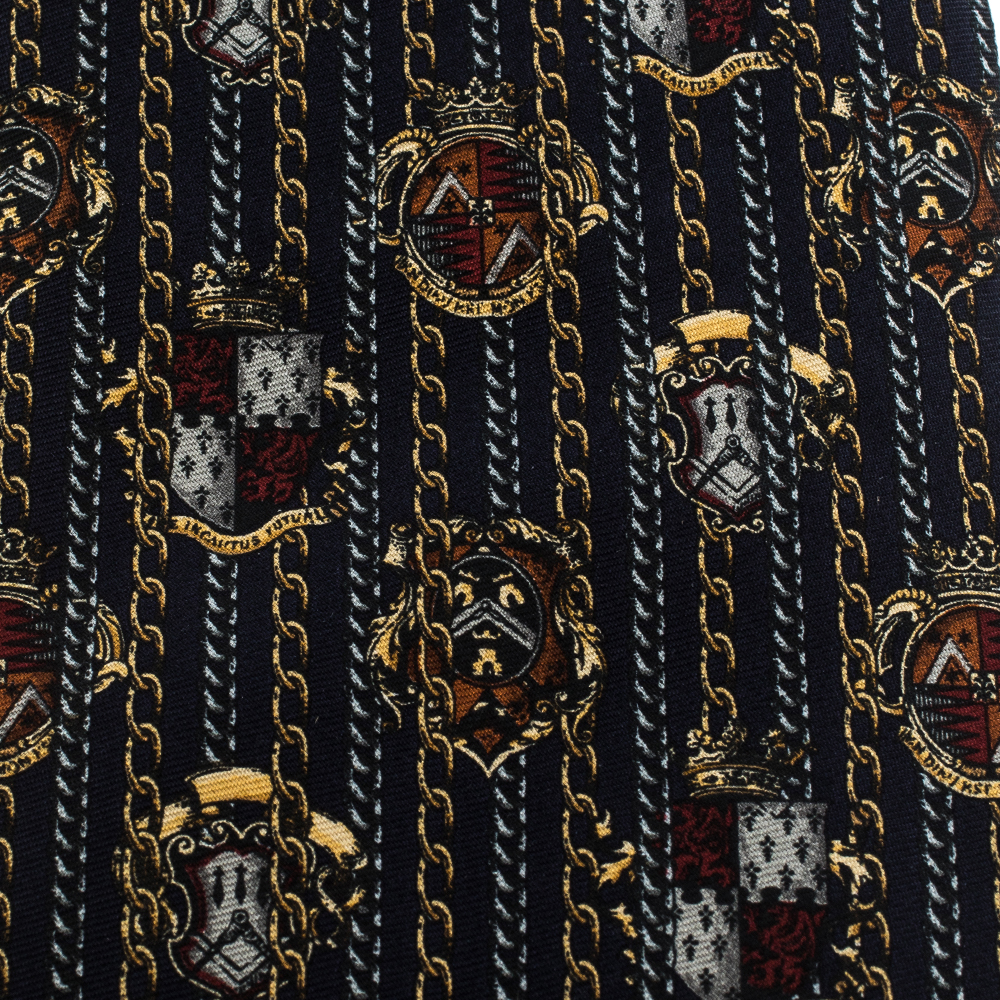 Gianfranco Ferre Vintage Navy Blue Printed Silk Tie