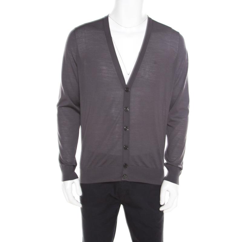 e003ad1a8033b8 Buy Giorgio Armani Grey Wool Cardigan XL 184101 at best price   TLC