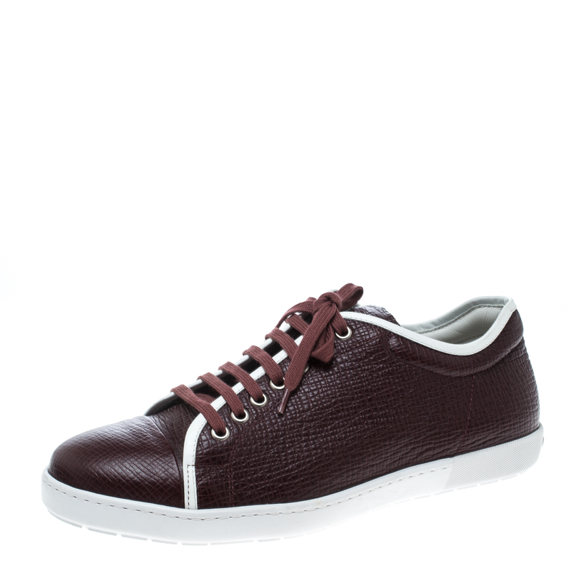 bf1ab4ec81e9 Buy Giorgio Armani Burgundy Leather Sneakers Size 41 167141 at best ...