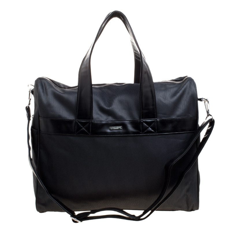 67a8a58481 Giorgio Armani Dark Grey Fabric and Leather Parfume Duffel Bag