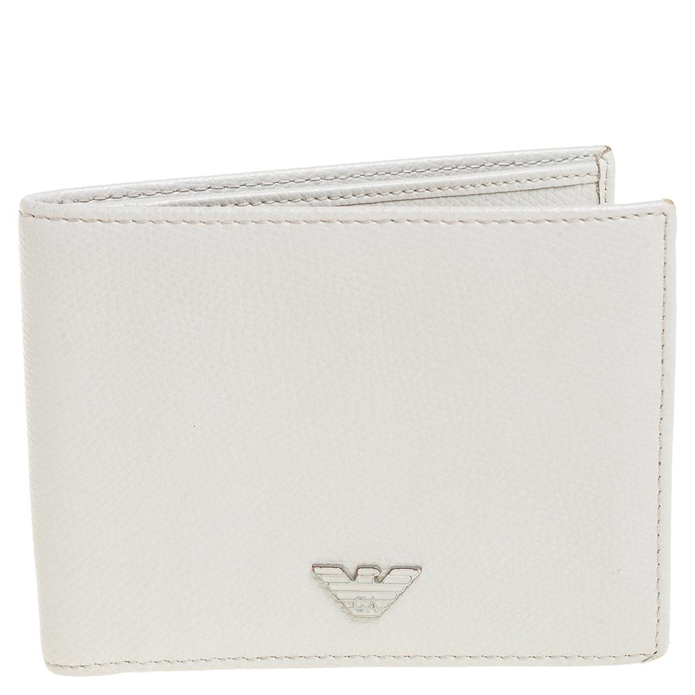 Pre-owned Giorgio Armani Grey Leather Bifold Wallet