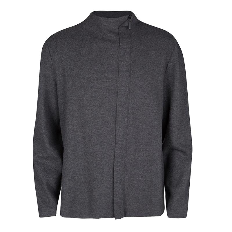 beb0670e7 Giorgio Armani Grey Wool Zip Front Cardigan XXL