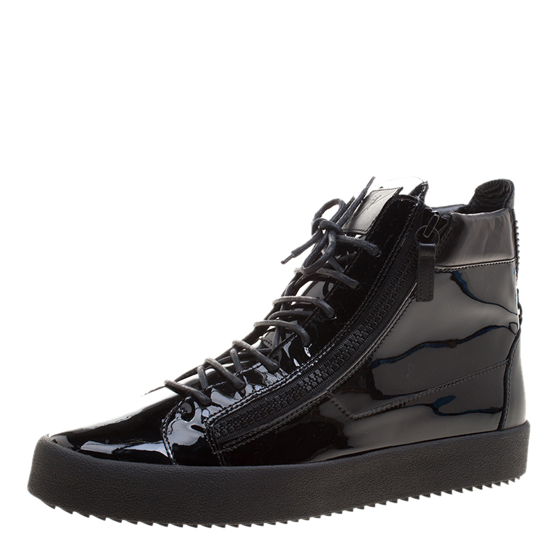 Black Zanotti Buy Top Leather Sneakers Patent Giuseppe London High 4qTTAOn
